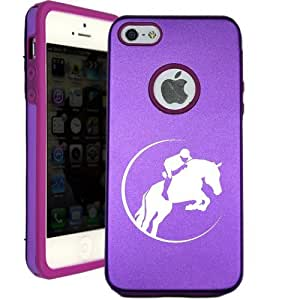 SudysAccessories Horse Riding Jumping iPhone 5 Case iPhone 5S Case - MetalTouch Purple Aluminium Shell With Silicone Inner Protective Designer Case
