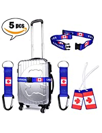 LUGGAGE STRAP Canadian Design Adjustable Travel Luggage Baggage Suitcase Bag Packing Strap Secure Belt BONUS of 2X Keychain and 2X Luggage Tags by: DSRG (BLUE)