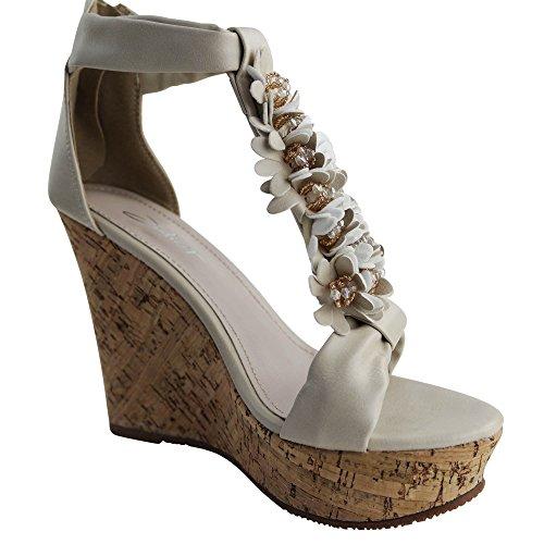 Schuhtraum Damen Sandalen Sandaletten High Heels Keilabsatz Blumen ST702 Wedge Beige