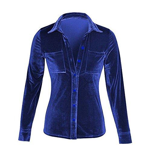 Bouton Tops Manche Blouse Longue M Chemisier Casual L XL laamei Velours Bleu S en Chemise Slim Shirt lgant Fonc Femme vwWzq4p