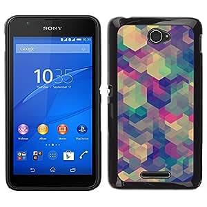 [Neutron-Star] Snap-on Series Teléfono Carcasa Funda Case Caso para Sony Xperia E4 [Polygon Pastel Green Beige Blue Colors]