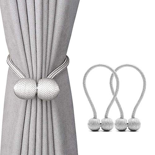 Magnetic Curtain Tiebacks - 2 Pack Drapes Holdbacks - Clips Holders for Office and Home Small, Thin or Sheer Windows Draperies - Strong Magnets and Thin Fiber Rope (Silver Gray, 12 Inch Long)