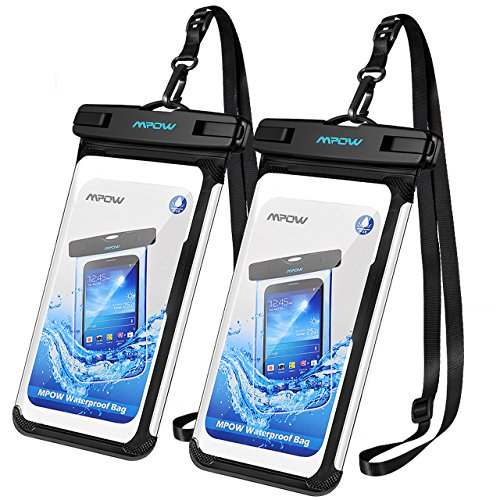 Mpow 140 Waterproof Phone Pouch, Full Transparency IPX8 Waterproof Case with Adjustable Lanyard Universal Dry Bag Compatible for iPhone Xs Max/XR/X/8/8P, Galaxy S9/S9P/Note 8, Google up to 6.5