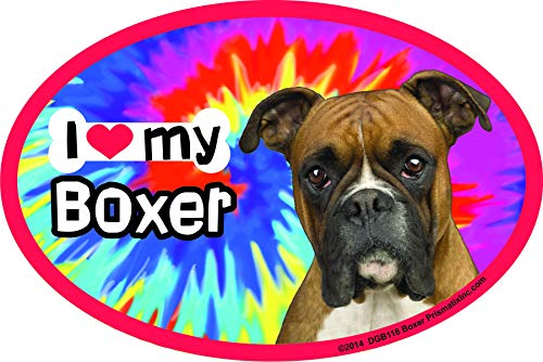 - Prismatix Decal Boxer Car Magnets: I (Heart) My Boxer Tie Dye - Oval 6