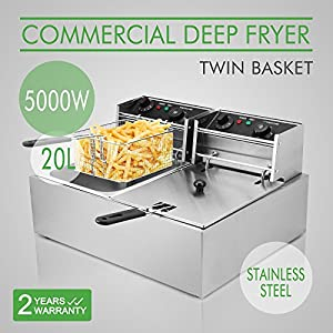 OrangeA Deep Fryer Commercial Deep Fryer Electric Countertop 20L Dual Tank Restaurant Grade Stainless Steel – Gas fryers fry better as they maintain a higher cooing temperature