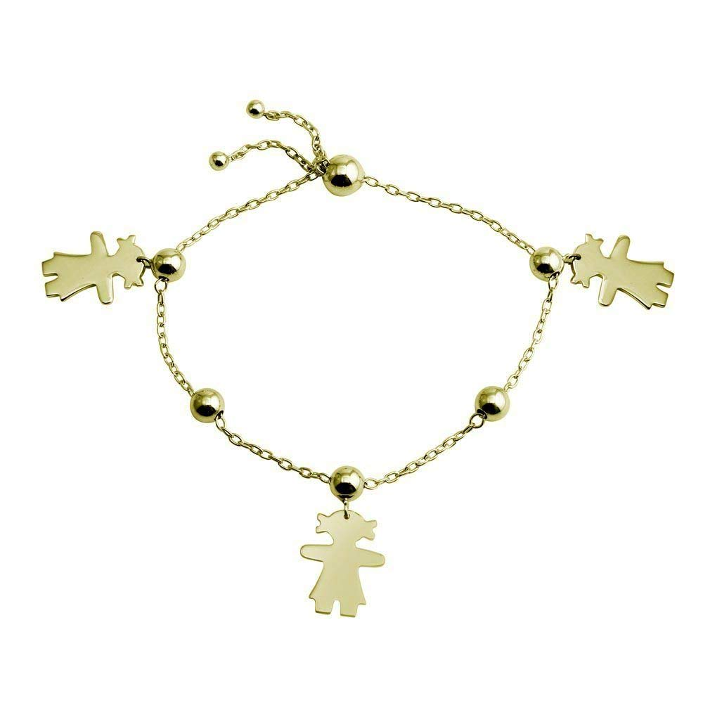 SURANO DESIGN JEWELRY Sterling Silver Yellow Gold Plated Lariat Charm Bracelet w//Girl Charms