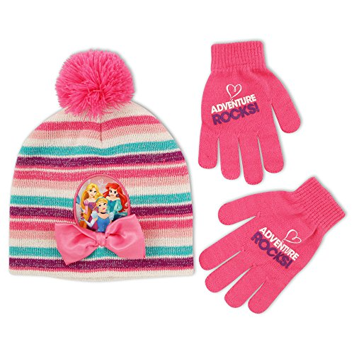 Kids Princess Pink Hat (Disney Little Girls Princess Character Hat and Gloves Cold Weather Set, Age 4-7)