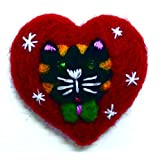 """NEEDLE FELTED BLACK TABBY STRIPED CAT WITH BOW HEART SHAPED ORNAMENT 2"""""""