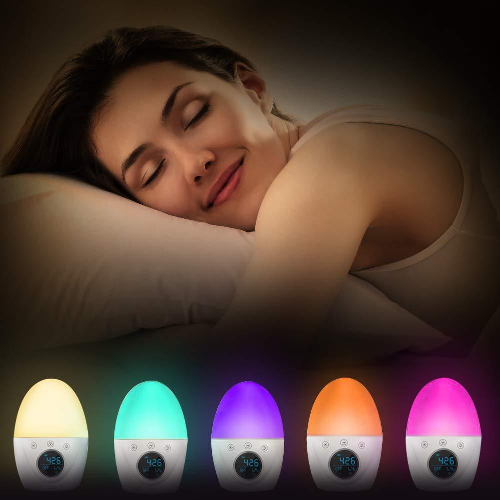 Regemoudal Nachtlicht Wecker f/ür Kinder und Erwachsene 3 Modusalarmen Nachtlichtuhr 5 Farben Stimmungsatmosph/äre Lampe mit 5 Naturger/äuschen Touch Control-Funktion und langer Standby Zeit