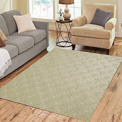 Pinbeam Area Rug Green Pattern Unique Vintage Fleur De Lis Silk Home Decor Floor Rug 2' x 3' Carpet