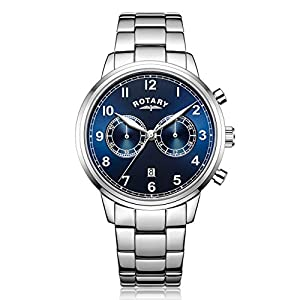 Rotary Men's Quartz Watch with Blue Dial Chronograph Display and Silver Stainless Steel Bracelet GB00338/05