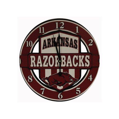 Game Day Outfitters NCAA Arkansas Razorbacks Shield Overlay Clock, One Size, Multicolor - Arkansas Razorbacks Clock