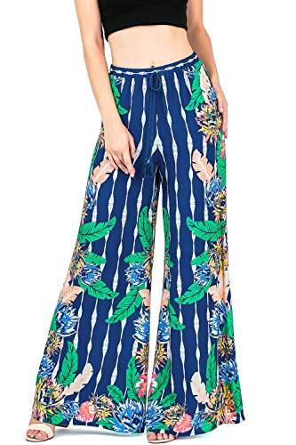 Flying Tomato Women's Juniors Boho High Waist Palazzo Pants (L, Vib Navy)