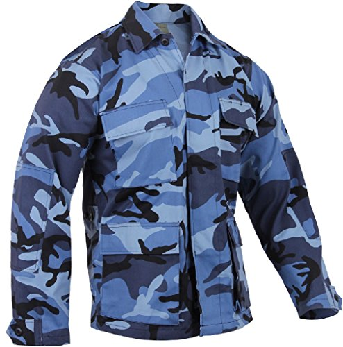 Military BDU Shirt Tactical Uniform Army Coat Camouflage Army Fatigue Jacket - Sky Blue Camo Bdu Shirt