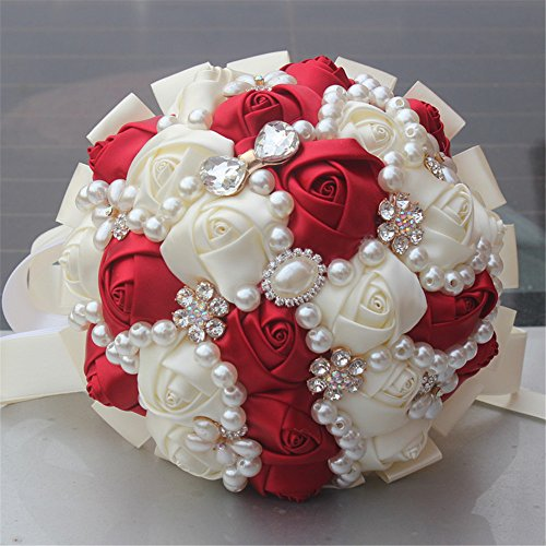 FYSTORE Hand Made Diamond Pearl Silk Roses Bridesmaid Bridal Artificial Bouquets Customization Bride Holding Bouquet Durable Wedding Corsage Flower,18cm (Ivory+Red)