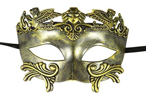 [KAYSO INC Roman Gladiator Men's Venetian Masquerade Mask, Rustic Gold] (Cheap Roman Costumes)