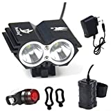 Nestling Waterproof 800 Lumens XM-L U2 LED Bicycle Light 4 Modes Super Bright Lighting Lamp Bike Lamp Headlight with Rechargeable Battery Pack and Charger for Camping, Cycling, Hiking, Riding - Black