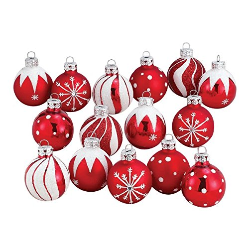 Kurt Adler Red/White Decorated Glass Ball Ornament set of 15