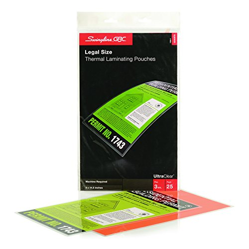 Swingline GBC Laminating Sheets, Thermal Laminating Pouches, Legal Size, 3 Mil, HeatSeal UltraClear, 25 Pack (3200578)