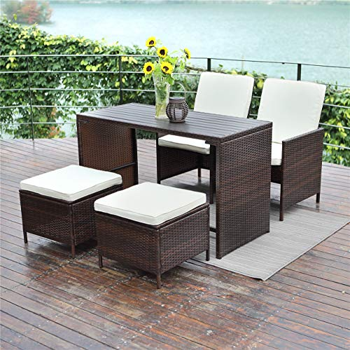 Wisteria Lane 5 Piece Patio Porch Dining Set Outdoor Furniture Bar Bistro Wicker Chair Stool Wooden Table All-Weather Conversation,Brown Wicker Beige Cushions - Stool Set Bench