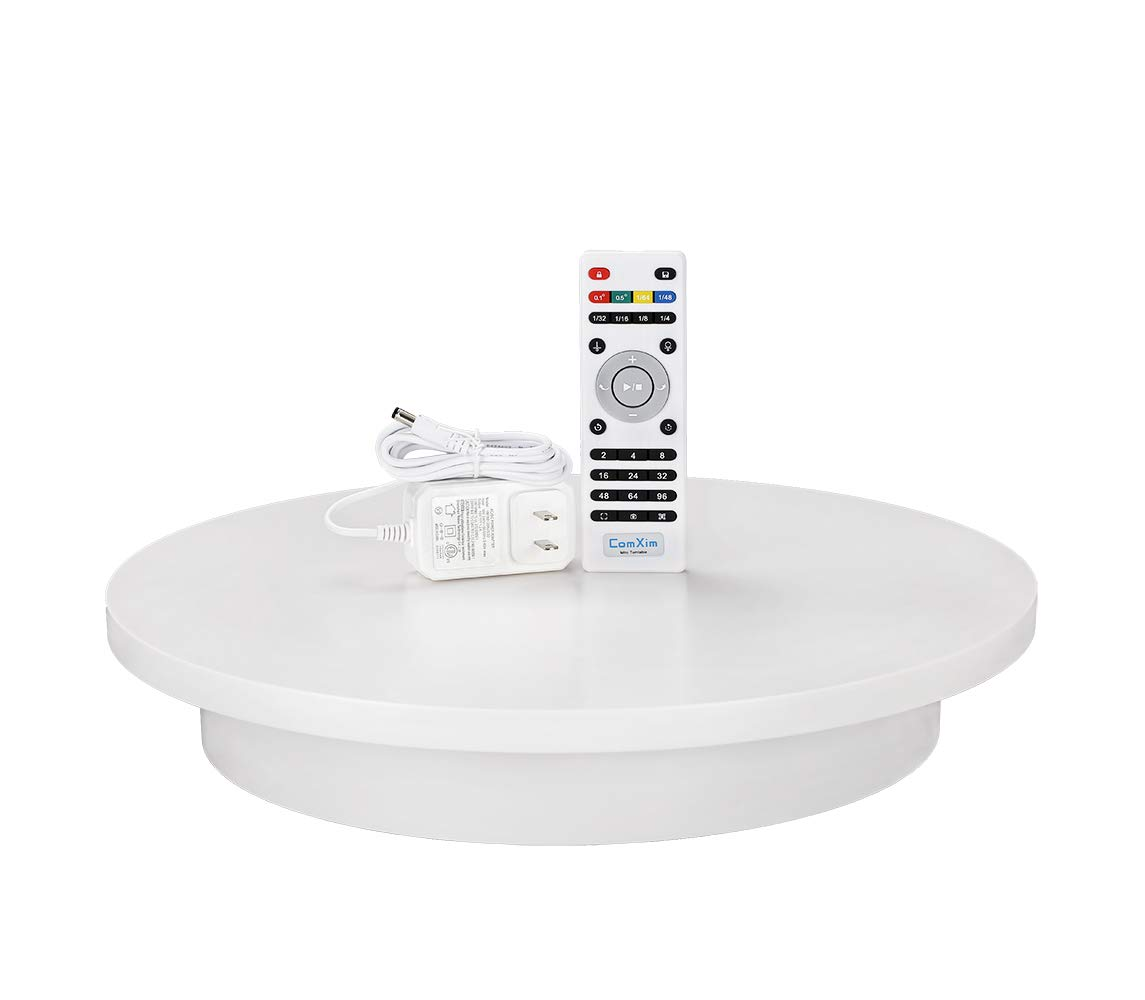 ComXim Professional 360 Degree Photography Turntable for Product Photography, 15.8in(40cm) Diameter,Automatic Remote Control Angle,Speed,Direction, Various Rotation Mode (White) by ComXim