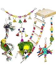PietyPet Bunten Vogelspielzeug, 6 Stück Papageienspielzeug Kauspielzeug Vögel Spielzeug hängen Vogelkäfig Steht mit Holzleiter, Seilbarsch für Sittiche, kleine und mittelgroße Vogel Papageien