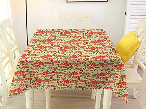 L'sWOW Summer Square Tablecloth Decoration Tea Party Traditional Polka Dots with Teapot and Cups on Floral Composition Background Multicolor Western 50 x 50 -