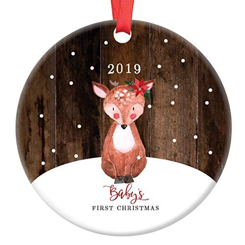 Baby's First Christmas Ornament 2019 Cute Deer Fawn Gender Neutral Infant Son Daughter 1st Holiday Rustic Ceramic Keepsake Present Newborn Boy Girl 3