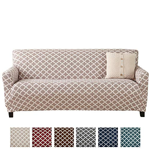 Printed Stretch Sofa Furniture Cover Slipcover Brenna Collection, Beige Collection 3 Seat Sofa