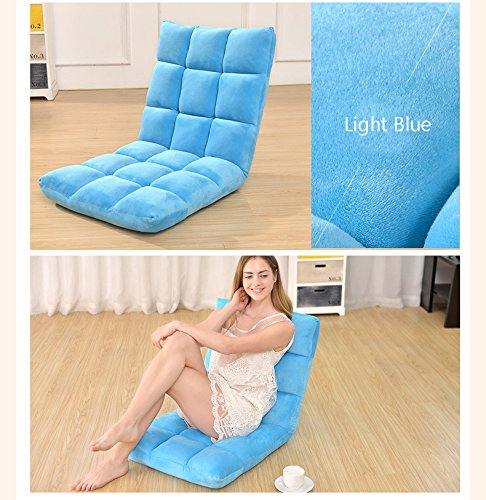 Do4U Home Adjustable Folding Lazy Sofa Six-Position Relax Floor Chair & Gaming Chair -Floor Cushion Multiangle Couch Beds for Watch TV/ Gaming/ Midday Rest/ Nap (Light Blue)