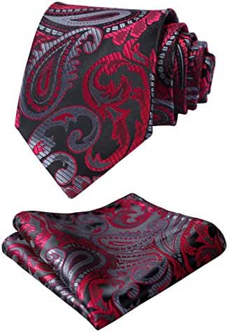 HISDERN Men's Classic Tie 3.4'' Necktie and Pocket Square Set Red / Gray