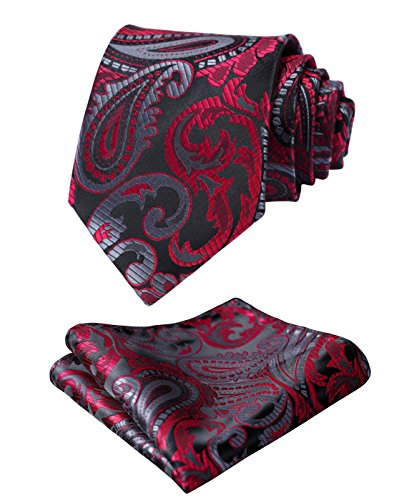 HISDERN Men's Classic Tie 3.4'' Necktie and Pocket Square Set Red / (Classic Paisley Tie)
