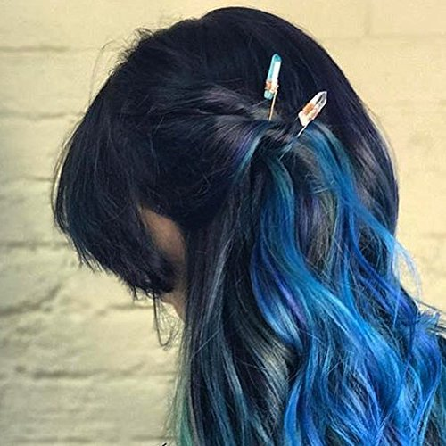 Set of 2 Clear Quartz Crystal Hair pins