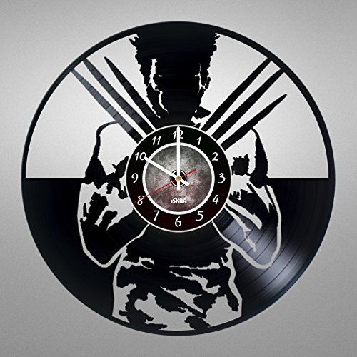 Vinyl Record Wall Clock for Comics Books Fans - Get unique living room wall decor - Gift ideas for friends, teens, children, men and women, boys and girls - Mutant with Bone Claws Unique Art Design