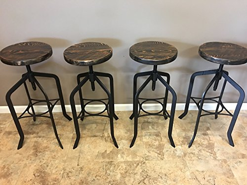Set of 4| Reclaimed Wood Counter/Bar Height Stool with Swivel Seat | Industrial Urban Bar Stool