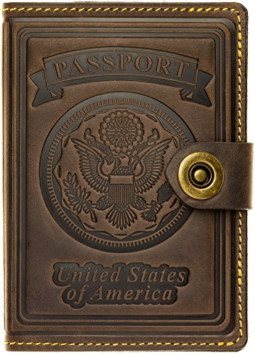 (Villini - Leather RFID Blocking US Passport Holder Cover ID Card Wallet - Travel Case (Brown)