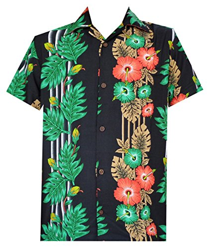 Shirt Panel Camp (Alvish Hawaiian Shirt 45 Mens Panel Floral Beach Aloha Party Camp Holiday Black 2XL)