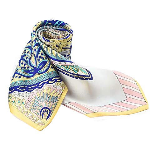 100% Pure Mulberry Silk Small Square Scarf -21'' x 21''- Breathable Lightweight Neckerchief -Digital Printed Headscarf (Multicolor)