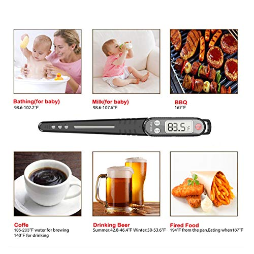 Termometro da Cucina, Termometro Cucina Digitale Professionale, Lettura Istantanea Termometro Carne con Sonda Lunga per Barbecue, Pasticceria, Latte, Cottura