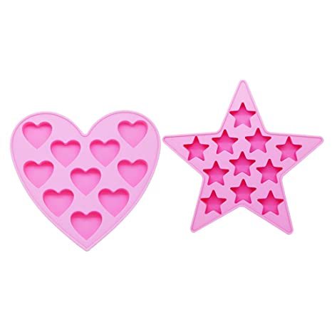 homyl 2 Pack Silicona Forma chocolate Forma dulce corazones estrellas silicona cubitos de hielo forma de
