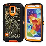 For Samsung Galaxy S5 Case,Fivers(TM) Heavy Duty Case 3 in 1 Three Advantages Waterproof Dustproof Shakeproof with Forest Camouflage Desig Cell Phone Cases for Samsung Galaxy S5 (Grass- Orange)