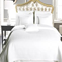 LUXURIOUS QUEEN Size, 6 Piece, White Checkered Quilted WRINKLE FREE Microfiber Coverlet Set