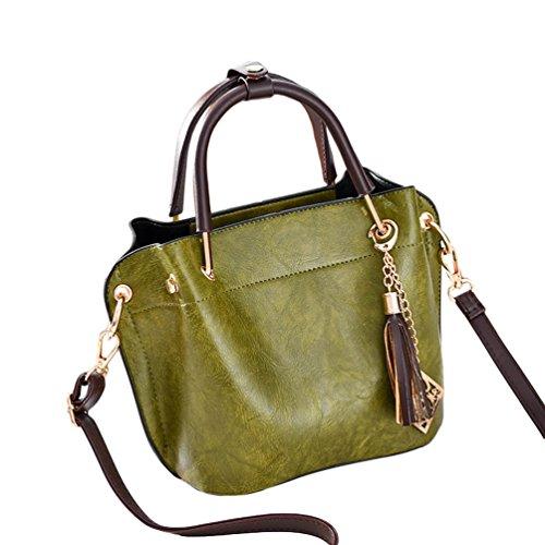 Baymate Mujeres Moda Bolso Bandolera Bolso Mano Bolso Tote Bag PU Cuero Bolso de Hombro Verde