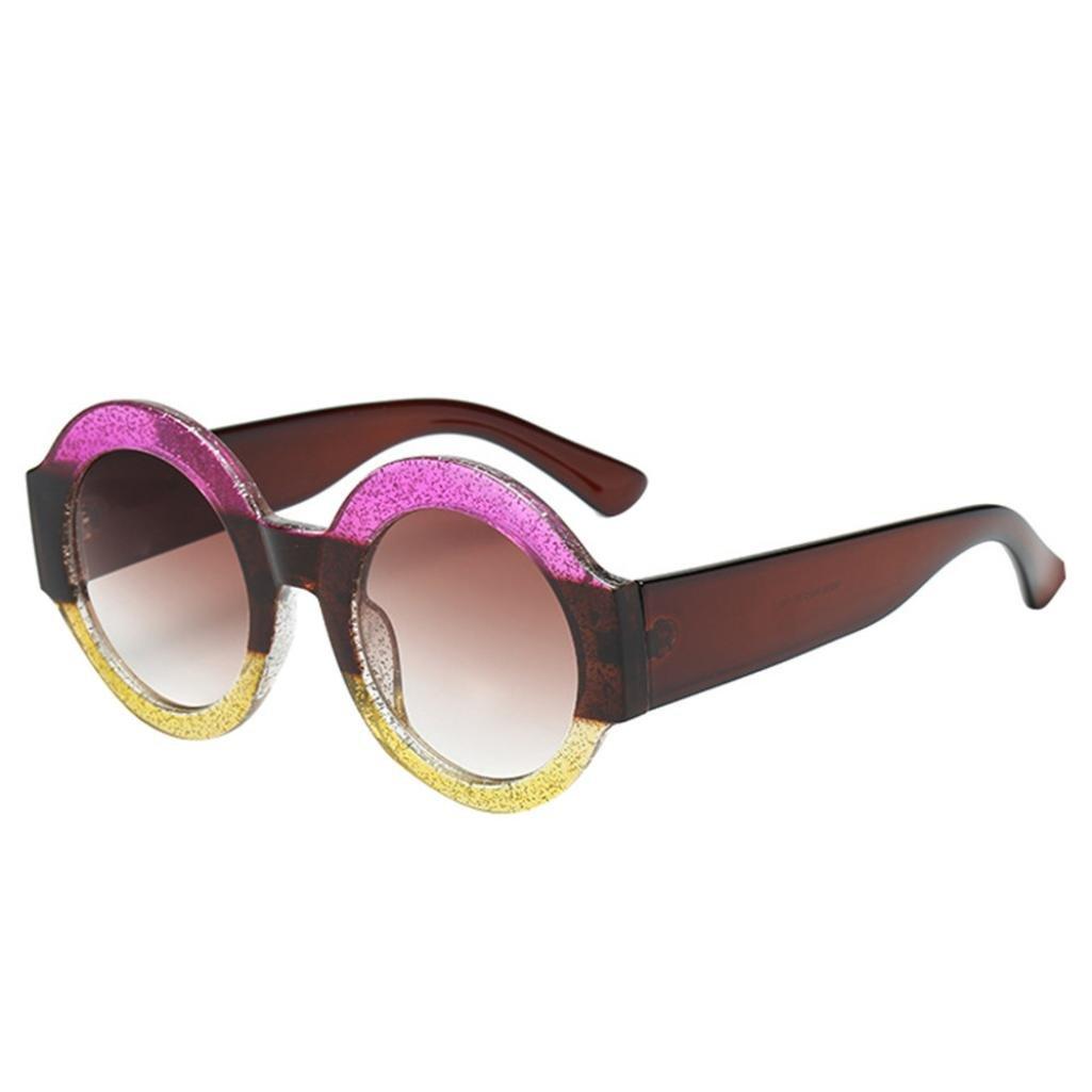 Hot Sale! Retro Round Sunglasses for Women and Men, Jiayit Unisex Big Frame Round Shape Rapper Sunglasses Vintage Retro Eyewear (C)