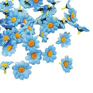 Artificial Daisy Flower Heads 100pcs Fake Gerbera Petals Sky Blue DIY Garland Craft Birthday Indoor Outdoor Party Easter Bonnet 2