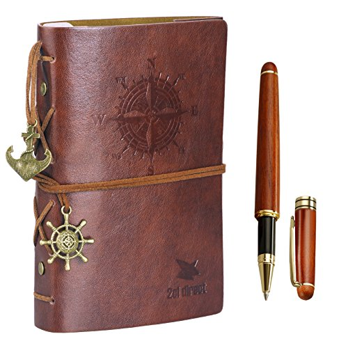 Leather Writing Journal Notebook, 7' Unlined Vintage Nautical Spiral Refillable Diary Sketchbook Daily Notepad Travel to Write in Classic Embossed with 0.7mm Rosewood Pen (2 Cartridges) - Gift Boxed