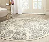 Safavieh Adirondack Collection ADR101B Ivory and Silver Oriental Vintage Round Area Rug (4' Diameter)