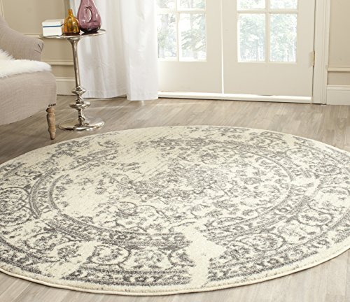 Safavieh Adirondack Collection ADR101B Ivory and Silver Oriental Vintage Distressed Round Area Rug (10' Diameter) - 10' Round Area Rug