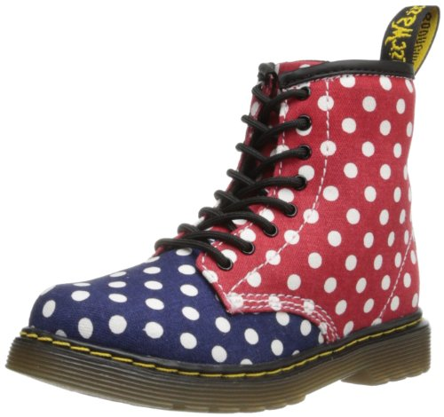 Dr. Marten's Brooklee Patent, Unisex-Child Boots Navy/White/Red