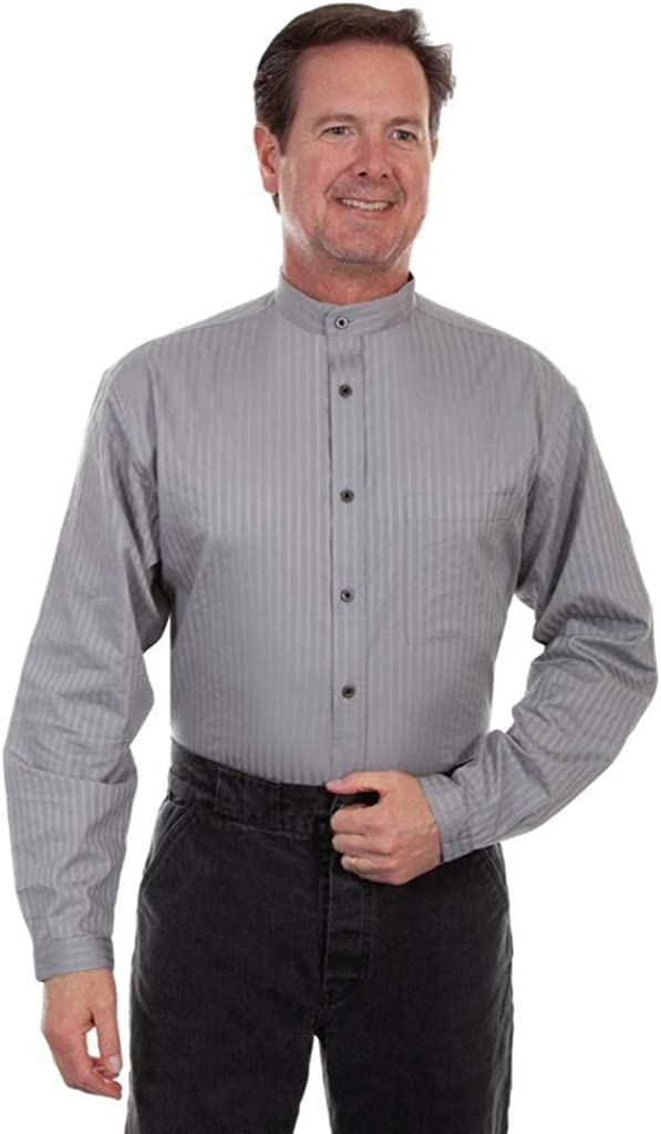 Steampunk Men's Shirts Scully Mens Wahmaker by Striped Button Long Sleeve Western Shirt Big - Rw221-Blk-B $56.94 AT vintagedancer.com